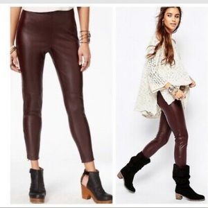 Free People Stretch Faux Leather Ankle Zip Pant-2